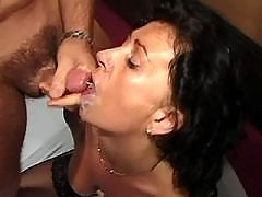 Mature tastes sperm after anal fuck