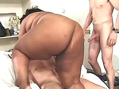 Sensual obese ebony fucking with guy