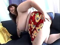 Busty fatty screwed by dude on sofa