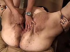 Fat blonde solo with dildo at sofa