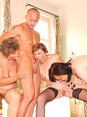 One lucky dude fucking three older ladies