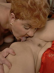 Hot babe doing two mature lesbians