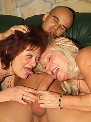 Sultry older women Remy and Paula got together to lure a younger guy into fucking their holes