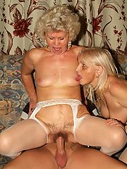 Sexy grannies Francesca and Erlene indulge their lesbian cravings and get off with dildos