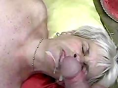 Blonde milf sucks cock n gets dildo