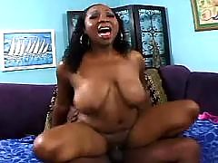 Hot African babe throats white cock