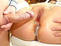 Big mature nurse gets an anal creampie
