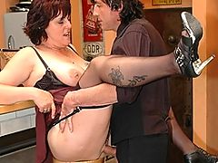 Big titted mama fucked at a bar