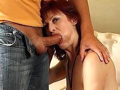 Kinky housewife just loves the taste of cum