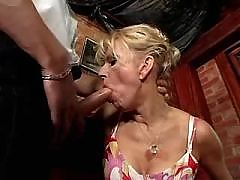Blonde milf and her lover having oral sex