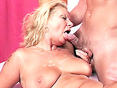Blonde gilf sucking cock and jizzed in her tits