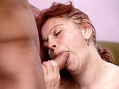 Redhead granny Stella gets her big tits cumhosed after she rode a huge dick