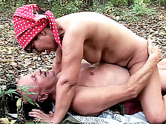 Granny Szandra takes a hike and ends up getting fucked on the forest floor