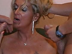 Blonde mature gets facial after orgy