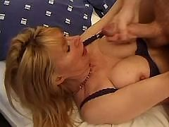 Elder slut gets cum on tits and face