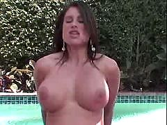 Woman has anal sex near pool