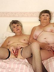 Nasty lesbian grannies stripping and licking