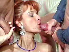 Sexy blonde mature does hot blowjob