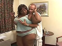 Ebony has fun with huge white dildo