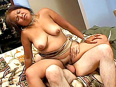 Exotic granny enjoys banging from below